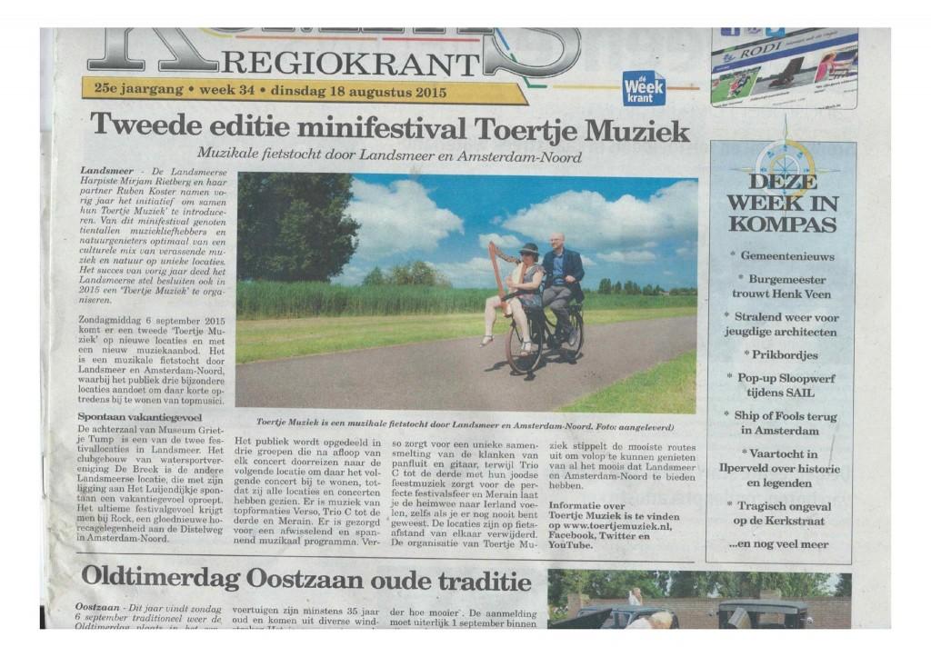 Artikel Toertje Muziek voorpagina Kompas 18-08-2015