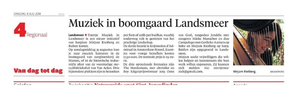 Toertje Muziek in Dagblad Waterland -  uitgesneden