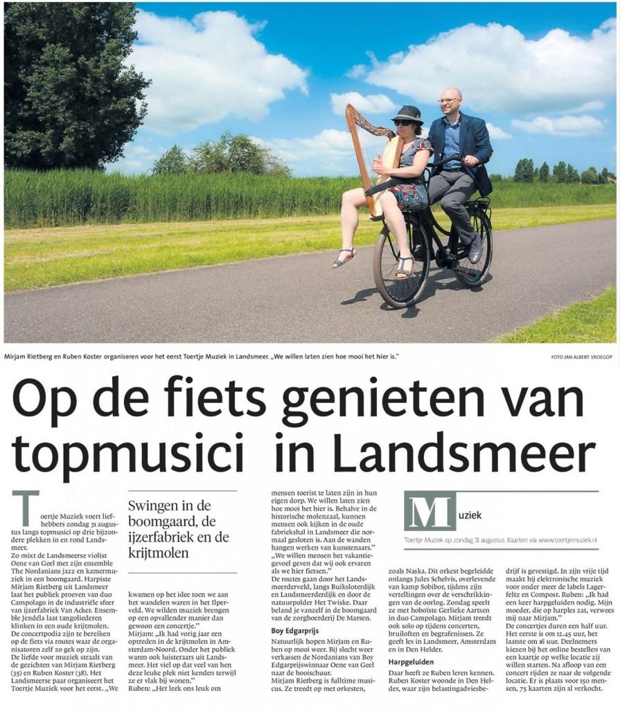 Toertje Muziek artikel Dagblad Waterland 28-08-2014